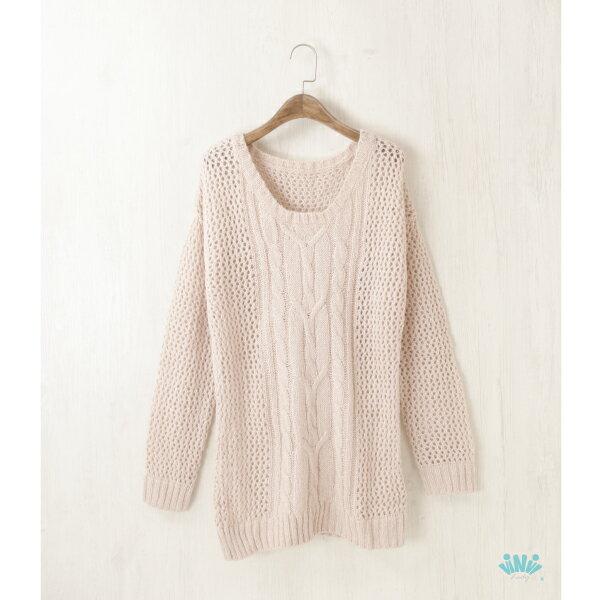 viNviLady鏤空織紋麻花長袖毛衣長袖上衣