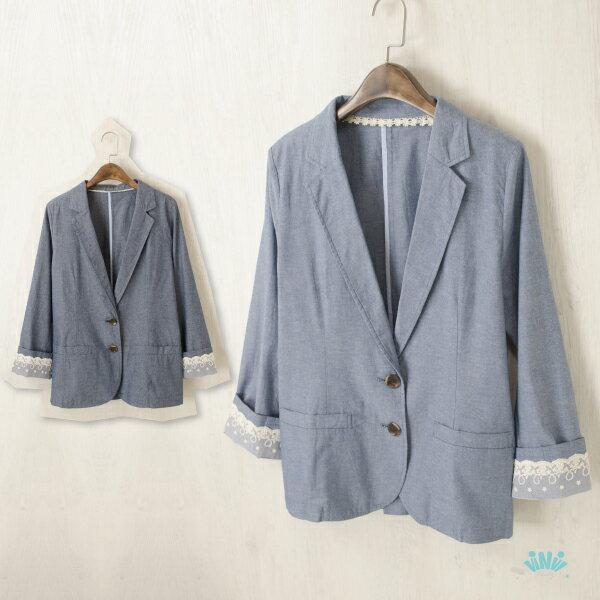 viNviLady蕾絲翻袖雙扣西裝薄外套