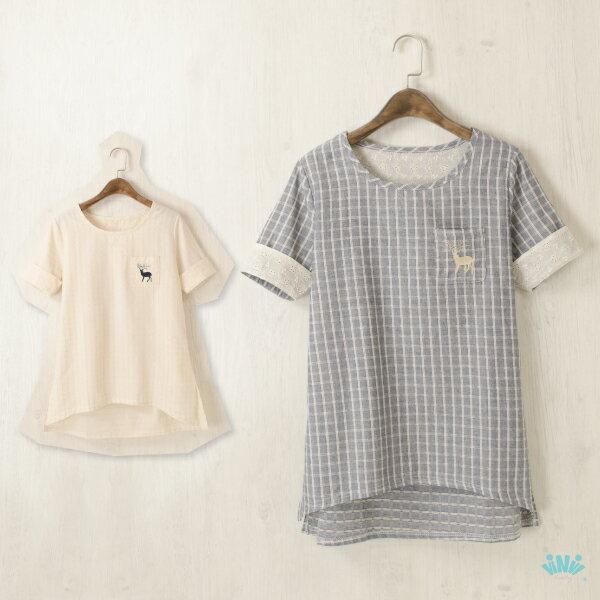 viNviLady小鹿刺繡口袋棉麻格紋短袖上衣短袖T恤