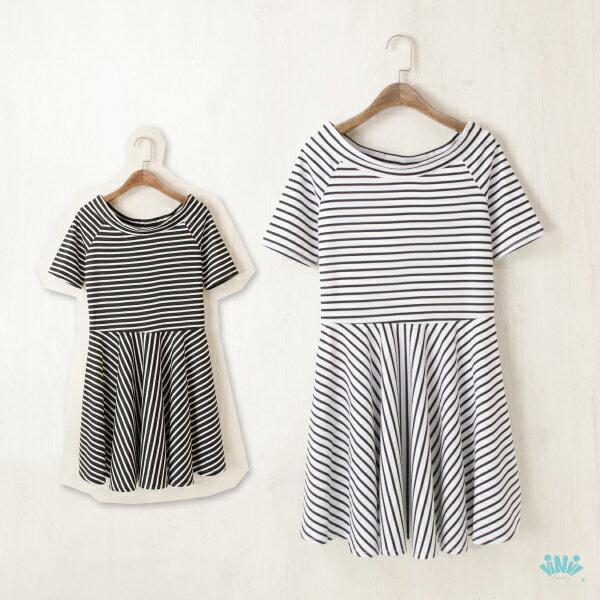 viNviLady海軍風寬圓領橫條紋短袖洋裝短袖連身裙