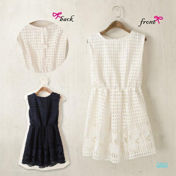 viNvi Lady 編織格紋蕾絲縮腰無袖洋裝 連身裙
