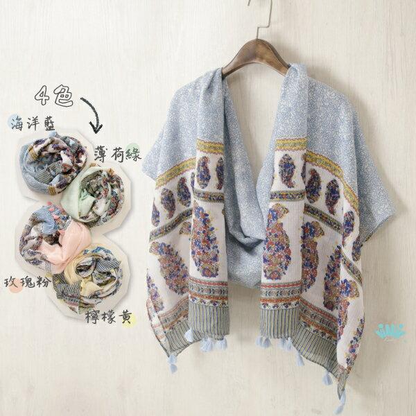 viNvi Lady 滿版小花變形蟲流蘇棉紗圍巾 絲巾