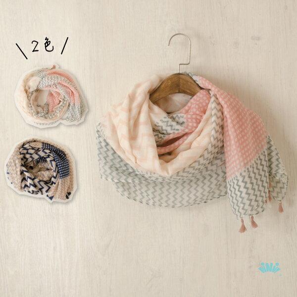viNviLady幾何花紋流蘇棉質棉紗圍巾