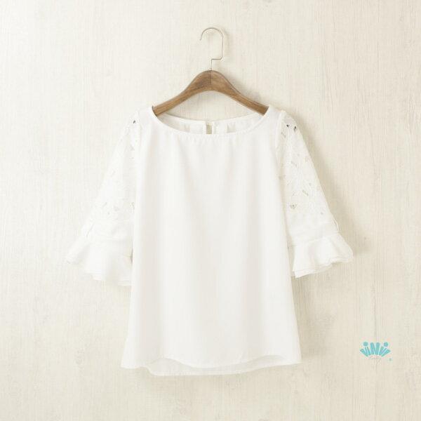 viNviLady鏤空花朵布蕾五分袖雪紡T恤雪紡上衣