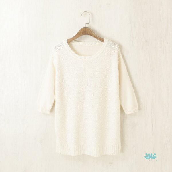 viNvi Lady 質感手工亮片五分袖針織上衣  針織衫