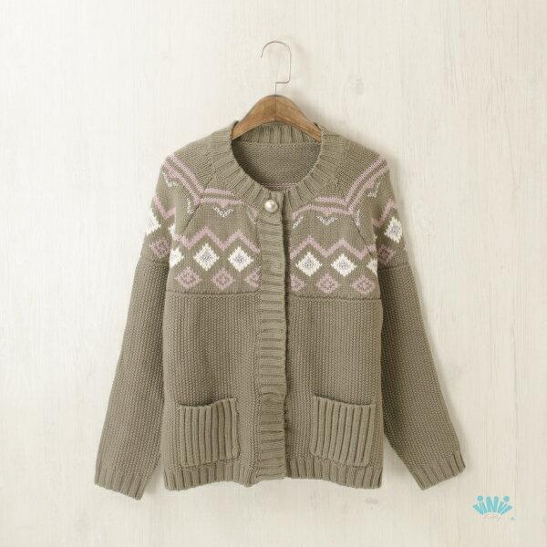 viNvi Lady 古著風幾何圖騰粗針織外套 厚毛衣外套