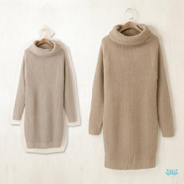 viNvi Lady 高領修身純色條紋毛衣洋裝 長版毛衣 毛衣裙