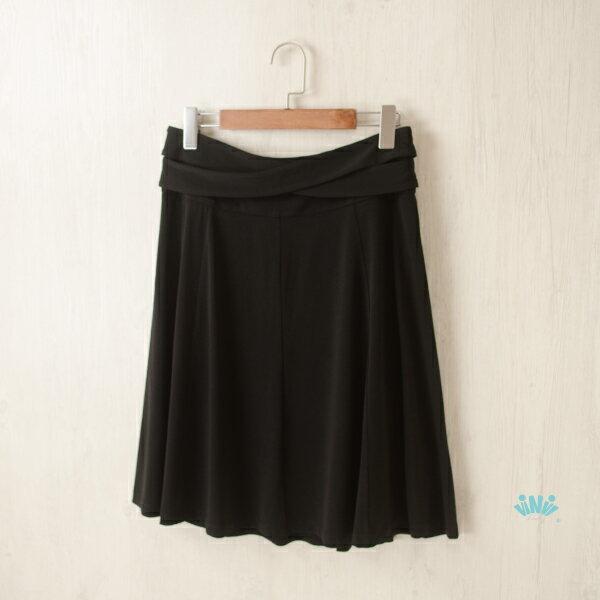 viNviLady優雅交叉腰帶裝飾及膝裙半身裙