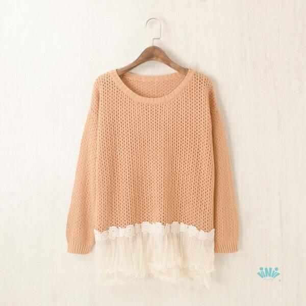 viNviLady甜美鏤空拼接波浪短紗裙針織上衣針織衫