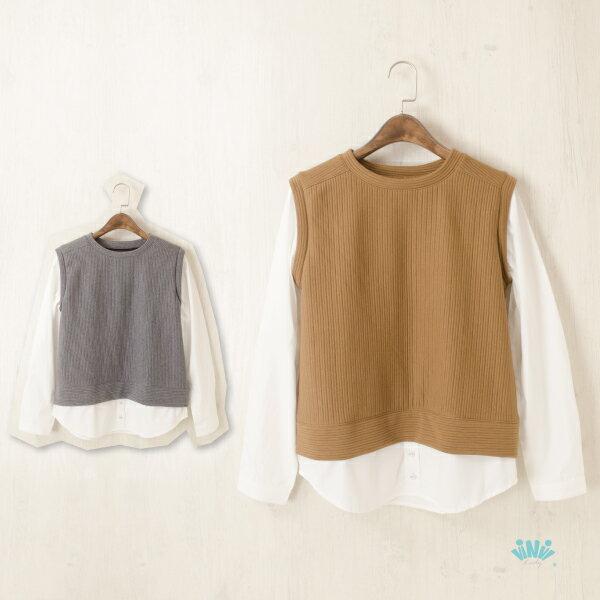 viNvi Lady 英倫風配色拼接假兩件背心襯衫 長袖上衣 無領襯衫