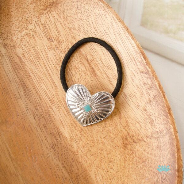 viNviLady土耳其石優雅銀色愛心髮圈髮束髮飾