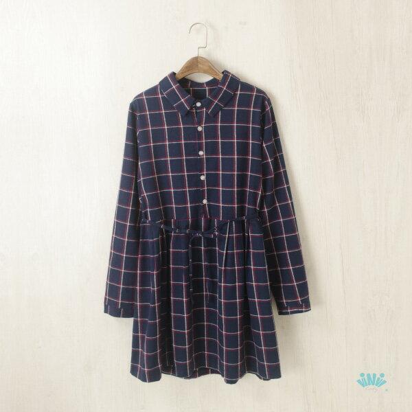 viNviLady法蘭絨雙色格紋繫帶長袖洋裝連身裙長版上衣