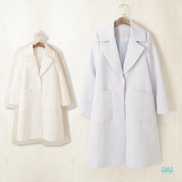 viNviLady修身寬版壓紋側開衩長版大衣長版外套