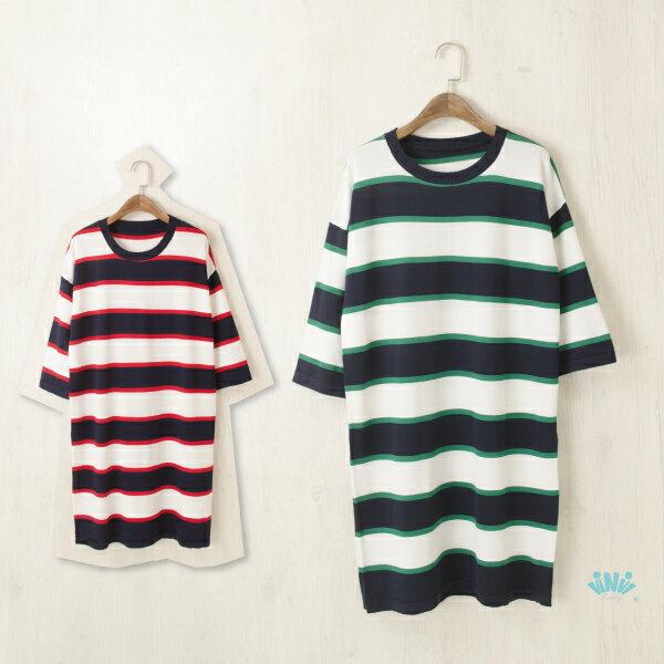 viNviLady圓領配色條紋五分袖針織洋裝針織長版T恤