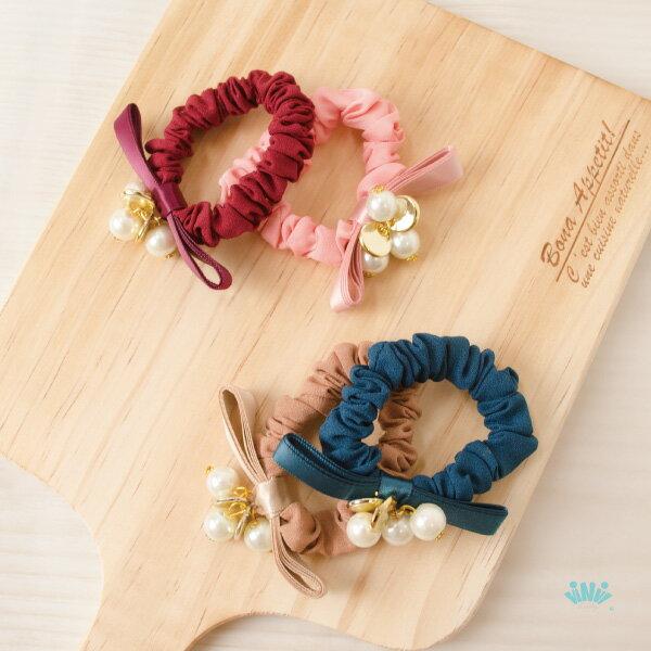 viNviLady多層緞帶蝴蝶綴珍珠髮圈髮束髮飾
