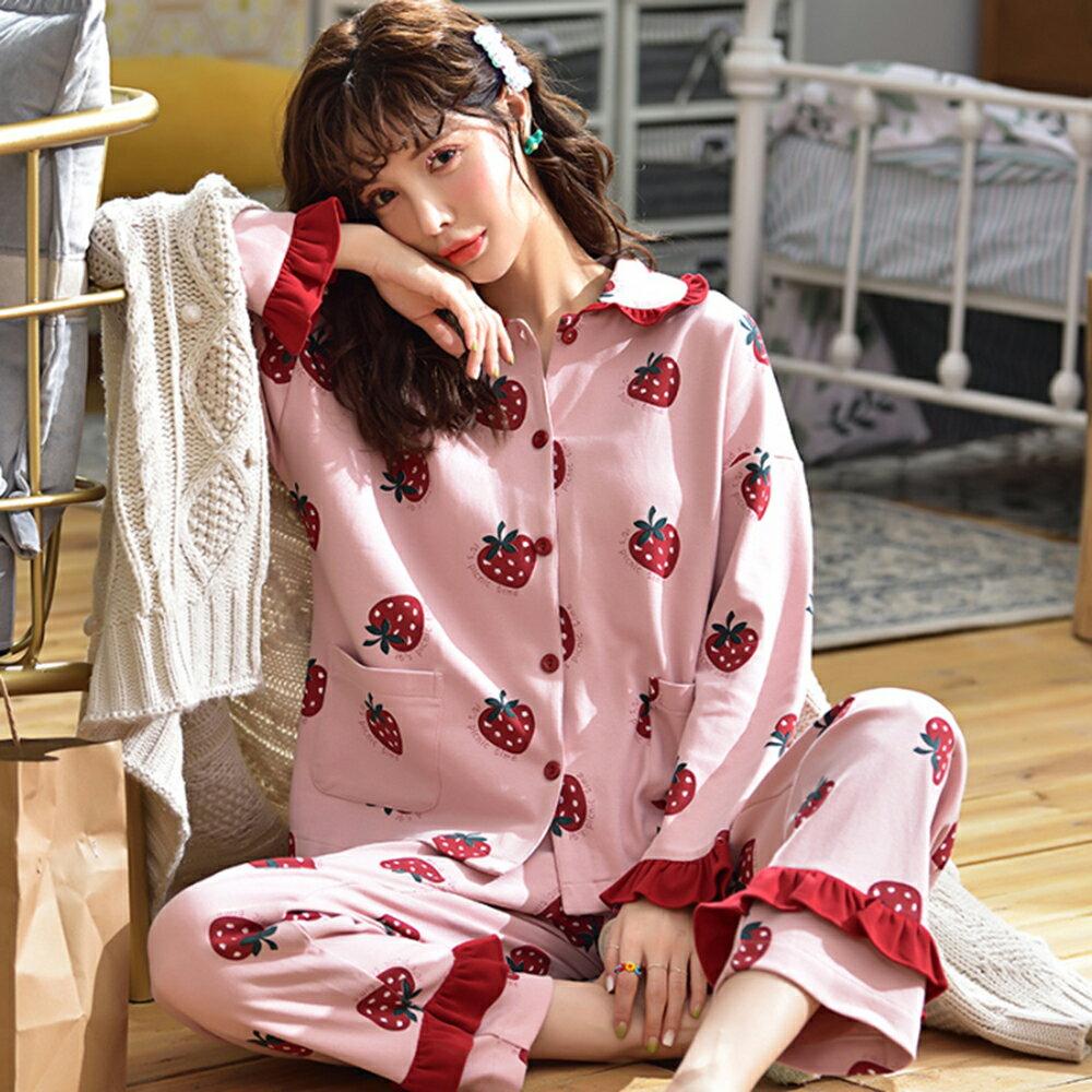 針織棉面料翻領睡衣家居服套裝(圖片色M~3XL)【OREAD】 1
