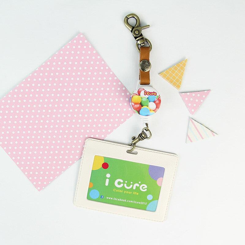 i 好鉤伸縮證件票卡夾 粉紅系列 彩虹糖果 票卡夾 悠遊卡 動物 伸縮拉環 真皮