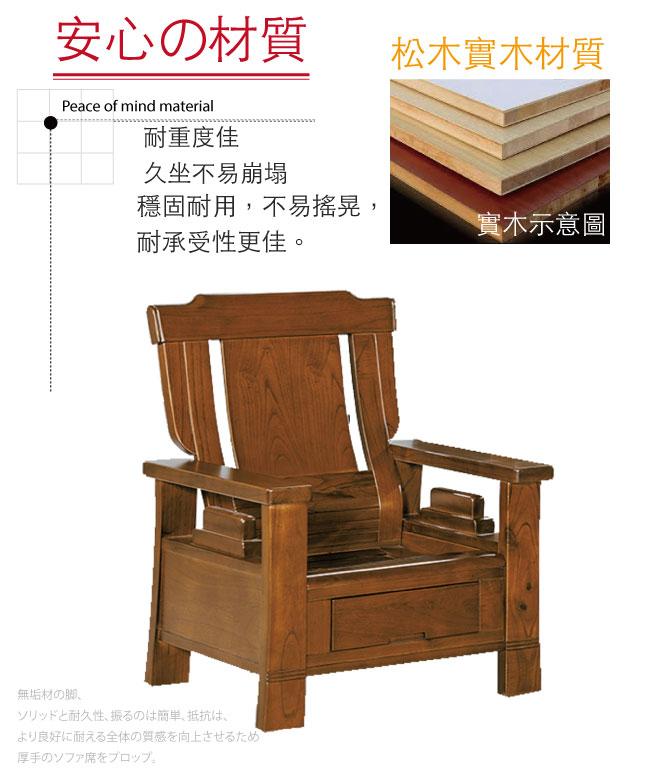 【綠家居】魯普 典雅風實木抽屜單人座沙發椅(單抽屜設置)