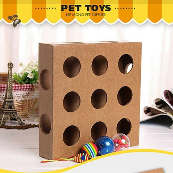 潘朵拉綠色生活概念館:【寵物貴族】躲貓貓木質17洞寵物益智玩具_附2小球老鼠玩具_喵星人最愛