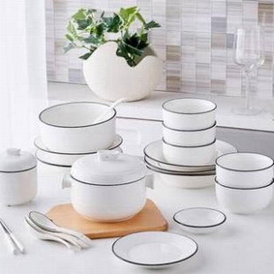 【藍線20件碗碟套裝-20件/套-1套/組】簡約日式碗碟套裝家用碗盤子組合陶瓷餐具套裝-8001020