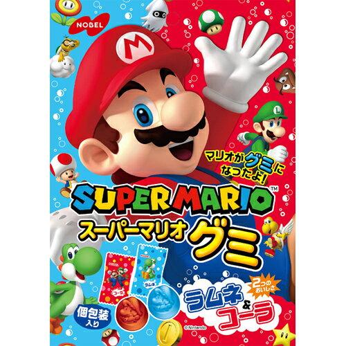 【NOBEL諾貝爾】SUPER MARIO 瑪莉歐軟糖-可樂&彈珠汽水風味 2種類造型 90g ????????? 日本進口糖果