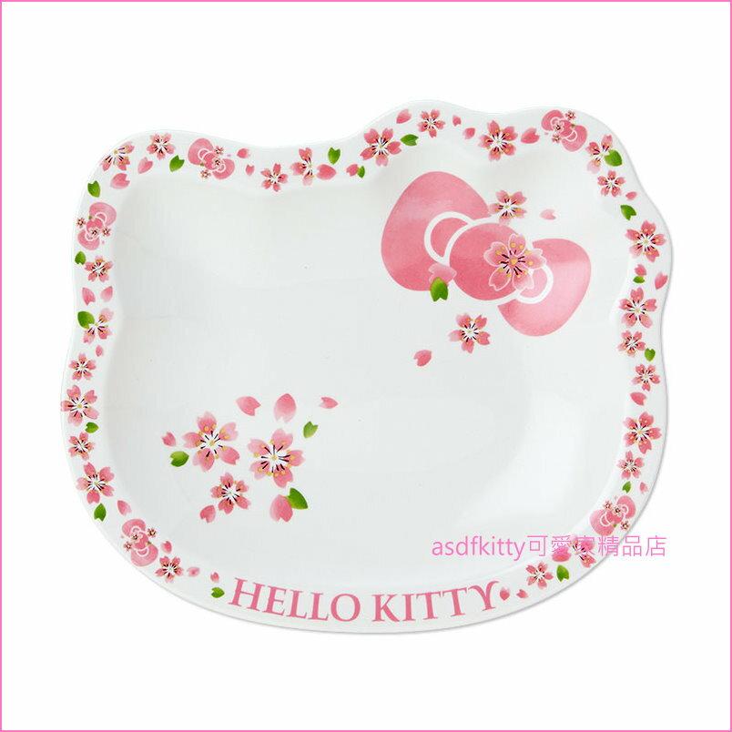 asdfkitty可愛家☆KITTY臉型櫻花陶瓷小淺盤/餐盤/水果盤-47633-可微波-可用洗碗機-日本製