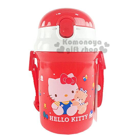 〔小禮堂〕Hello Kitty 日製彈跳吸管水壺《紅.坐姿.小熊.340ml》附背帶.保冷專用
