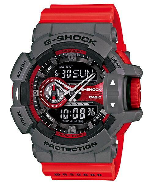 國外代購 CASIO G-SHOCK GA-400-4B 雙顯 大錶面 運動防水手錶腕錶電子錶男女錶 紅灰