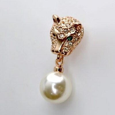 玫瑰金耳環925純銀鑲鑽耳飾 ~ 奢華豹頭 生日情人節 女飾品2色73gs2~ ~~米蘭