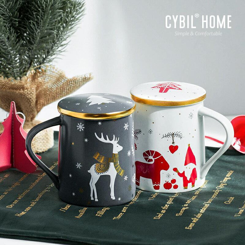 馬克杯禮盒 聖誕節馬克杯帶蓋勺陶瓷杯杯子女可愛創意情侶杯咖啡杯禮盒『CM40009』