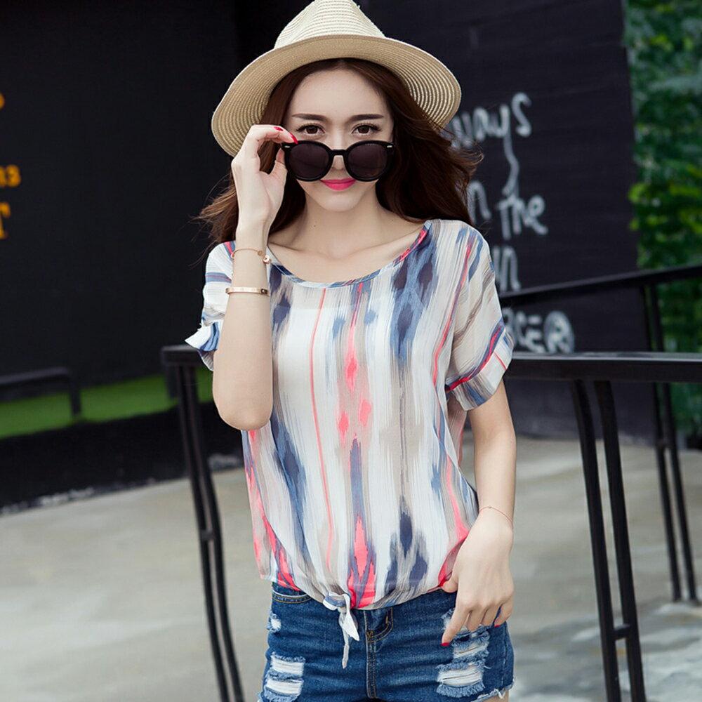 條紋襯衫衫雪紡襯衫 (3色,M~2XL)【OREAD】 2