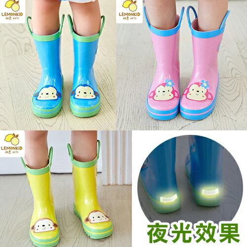 Lemonkid◆活力小花猴子安全夜光設計手提式提環橡膠兒童雨鞋