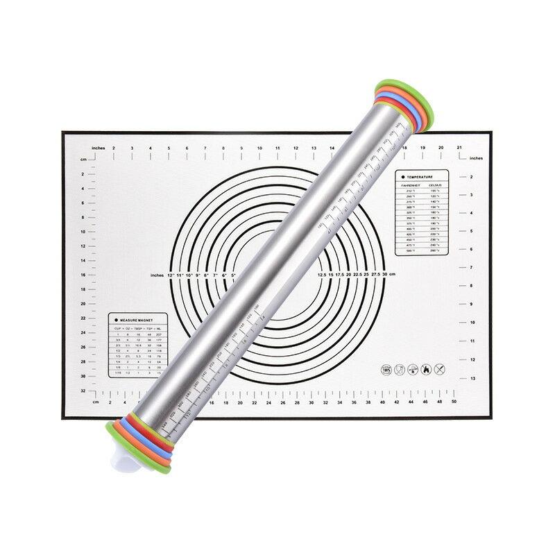廚房工具 17寸不鏽鋼可調節刻度擀麪杖不鏽鋼麪粉棍