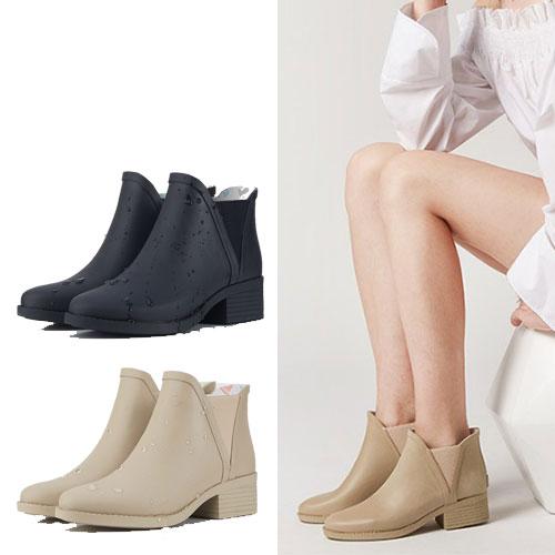 LINAGI里奈子【S692189】韓國代購短筒橡膠雨鞋女成人啞光歐美防滑切爾西雨靴 0