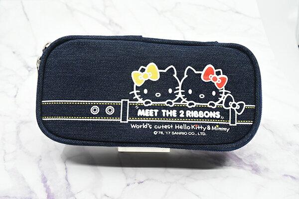 X射線【C703026】Hello Kitty 牛仔筆袋,鉛筆盒  筆盒  筆袋  筆筒  文具  收納
