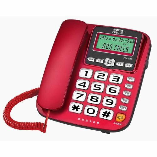 【TEL-832】 台灣三洋 SANLUX (SANYO) 來電顯示有線電話機 TEL-832
