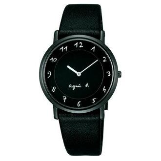 agnes b 7N00-0BC0D(BG4002P1)法式簡約時尚腕錶/黑面34mm