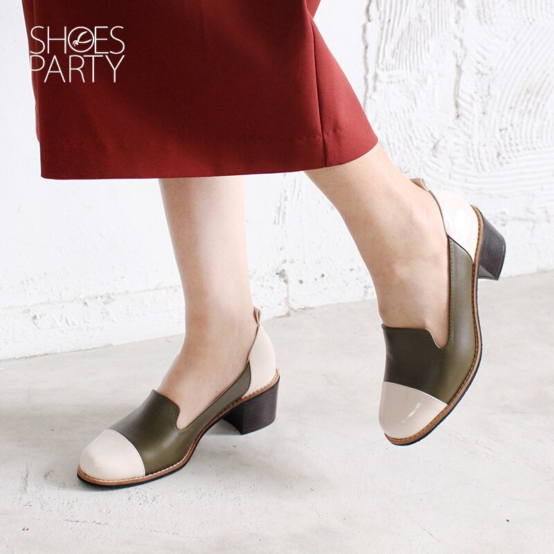 【P2-18810L】安定感拼接粗跟歐貝拉_Shoes Party 2