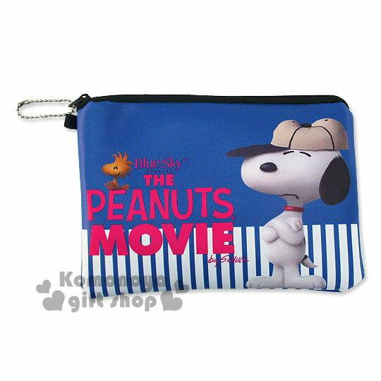 〔小禮堂〕史努比 皮質拉鍊扁平化妝包《藍.白條紋.棒球帽.手抱胸》Peanuts電影系列