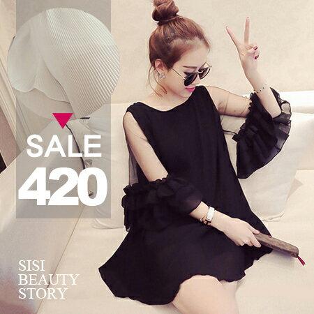SISI【T6019】溫柔浪漫百褶網紗拼接花邊喇叭中袖雪紡中長款上衣連身裙