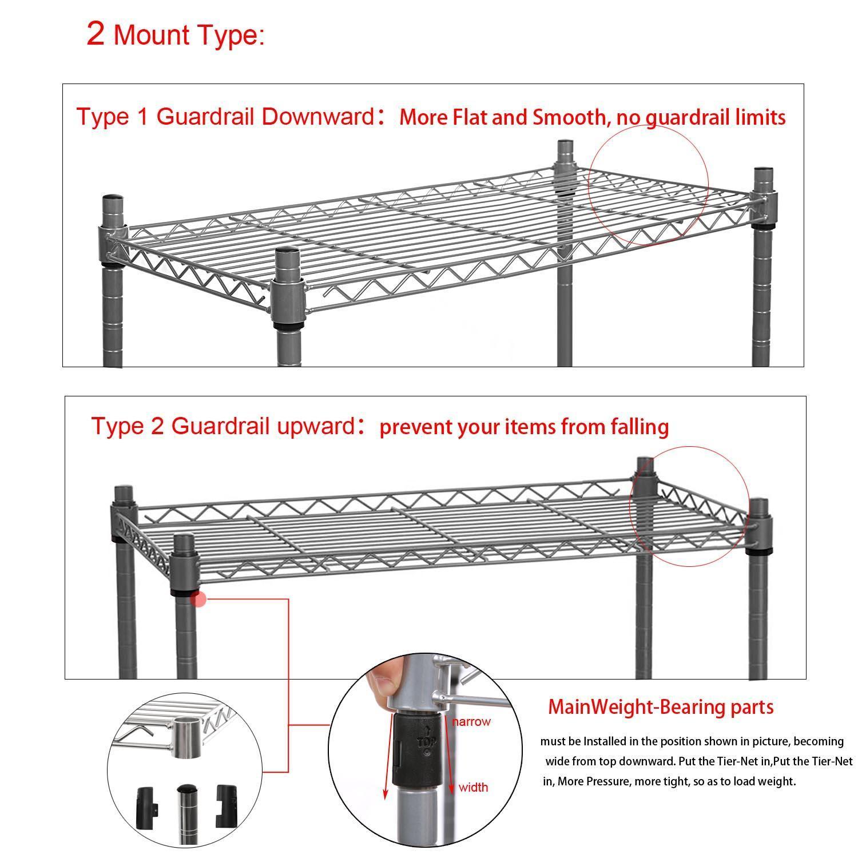 5-Shelf Wire Shelving Rack Shelves with Wheels 14 x 29 x 61inch 4