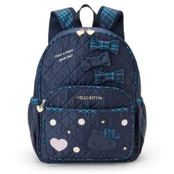 【真愛日本】17121300017輕量護脊後背包L-縫線緞帶花格靛藍ABQ  三麗鷗家族   KITTY  背包 書包