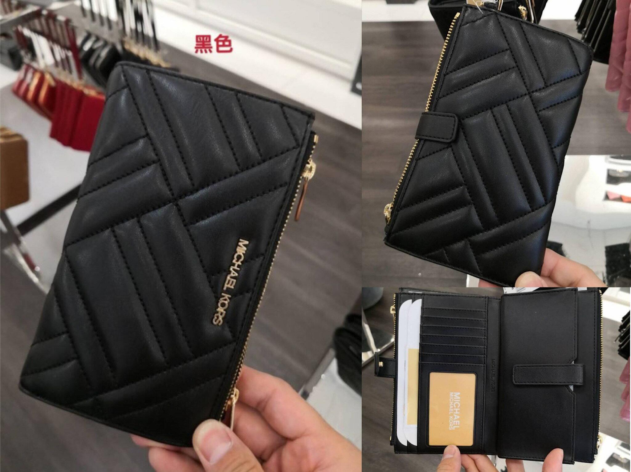 *vivi shop*美國正品MICHAEL KORS MK黑色斜紋、紅色愛心 多功能手拿包( 小羊皮真皮款) 長夾 手機包 皮夾 手拿包-(保證美國OUTLET全新直購100%正品)-附購證