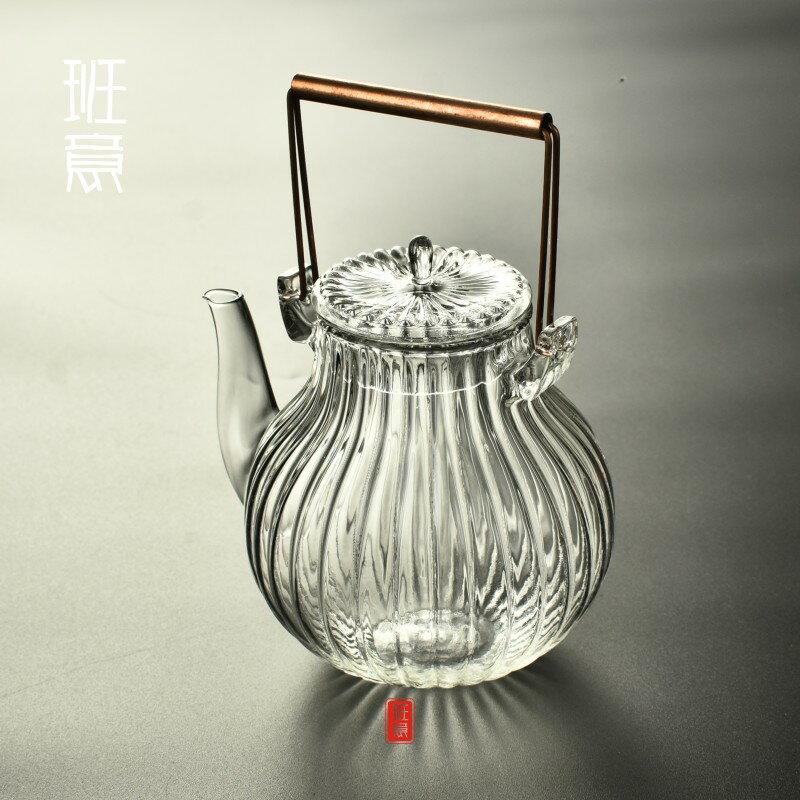 加厚耐高溫銅柄鶴首形菊筋紋耐熱玻璃燒水壺煮茶壺玻璃壺玻璃茶壺1入