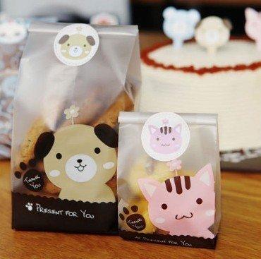 =優生活=「優惠買一送一」韓國小貓小狗小熊動物封口貼紙 圓形可愛烘焙貼紙 禮物貼 12枚