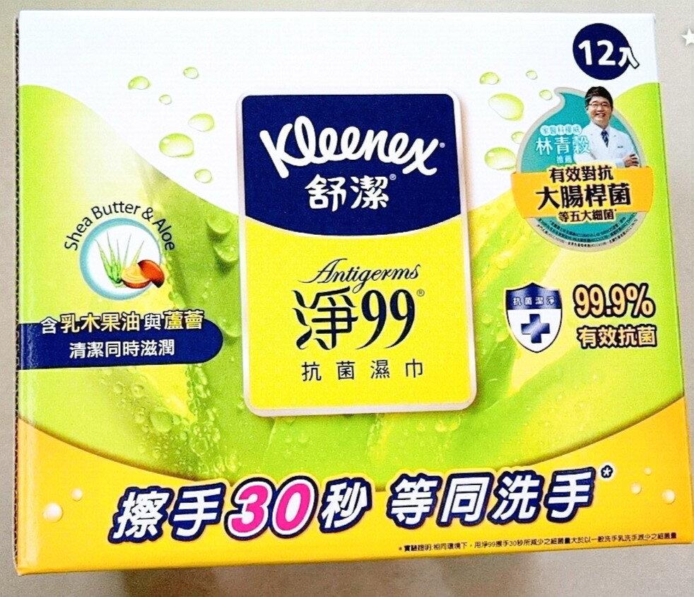 好市多 舒潔 Kleenex 淨99抗菌紙巾 一盒15抽x12包 濕紙巾 擦手 洗手 不含酒精  好市多 COSTCO