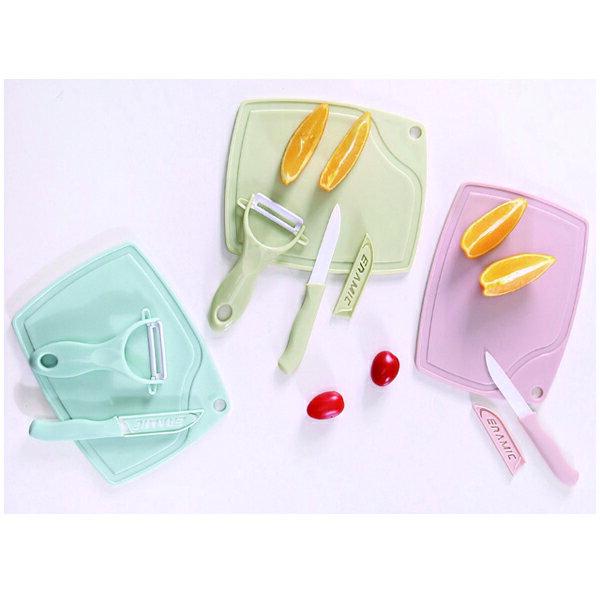 BO雜貨【SV9607】馬卡龍色廚房陶瓷刀具三件砧板水果刀削皮器小家庭露營野餐單身套房最適合