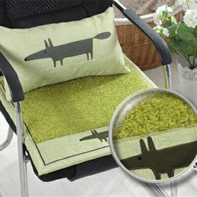 WallFree窩自在★秋冬加厚毛絨布藝坐墊椅墊-綠色款-綠狐狸