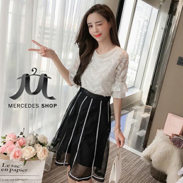 《全店75折》韓國優雅超仙氣質釘珠上衣+網紗裙顯兩件套(S-XL)-梅西蒂絲(現貨+預購)
