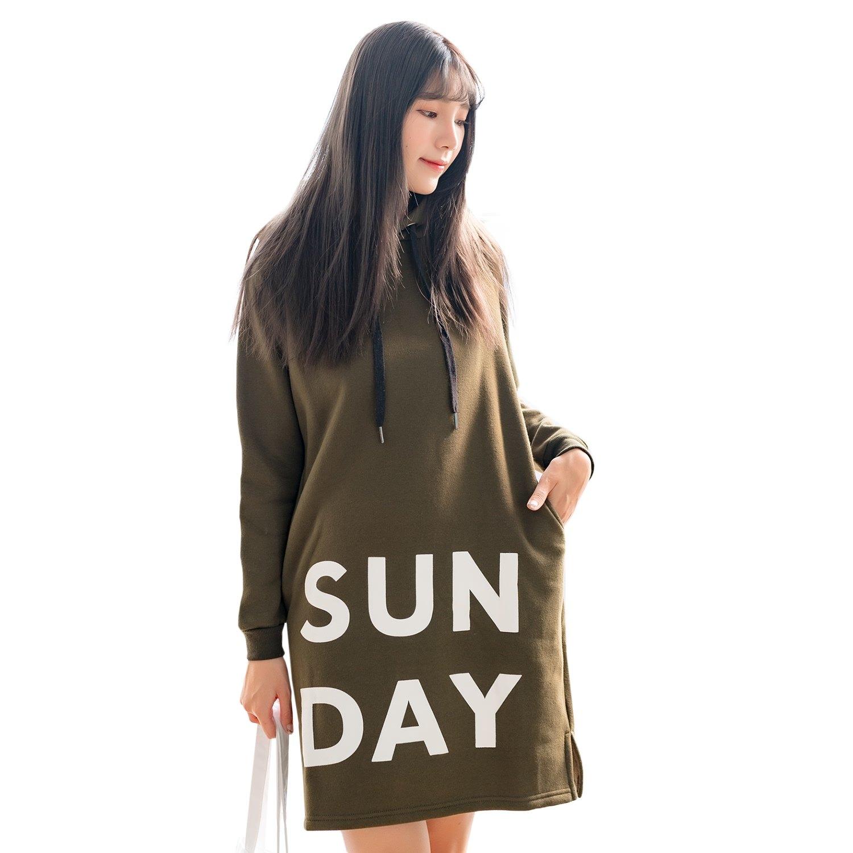 休閒洋裝--舒適印花羅紋口袋開衩連帽保暖刷毛圓領長版連衣裙(綠L-3L)-A355眼圈熊中大尺碼 0